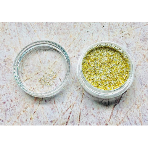 "Бульонки для дизайна ногтей баночка ""Gold+Silver"" 0,6мм. (металл) 5 грамм."