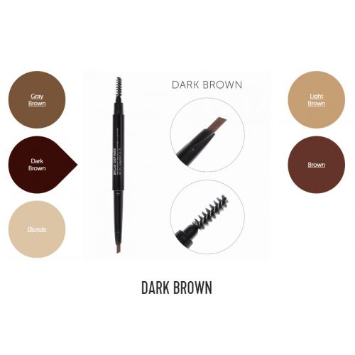 Механический карандаш для бровей со щеточкой Brow Definer (dark brown) цвет темно-коричневый